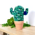 Patterned Crochet Cactus with Blue Flowers in Terracotta Pot