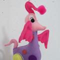 Pink Dancing Bird, a Unique Embroidered Felt Wire Mobile Sculpture Creature