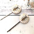 Bee Button Hair Bobby Pin and Hair Tie Set for Ladies / Hair Slider for Women