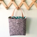 Storage solution, hanging fabric basket, Australian native plant bag