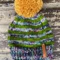 Newborn baby boy or girl rainbow green PomPom beanie merino