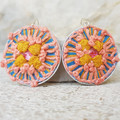 Handwoven Recycled Coffee Pod Earrings Boho Coral Ochre Handwoven Cotton Earring