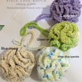 Pouf, bath or shower use, eco friendly, reusable, gorgeously exfoliating,