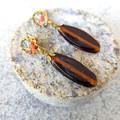 Toffee Recycled glass Earrings with Botanical Print Boho Glass Earrings