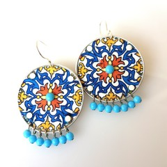 Recycled Coffee Pod Earrings Boho Mandala Earrings Ecofriendly Upcycled