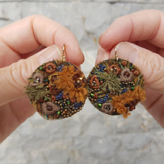 Embroidered Rockpool Earrings Ecofriendly Upcycled Lightweight Gold plated