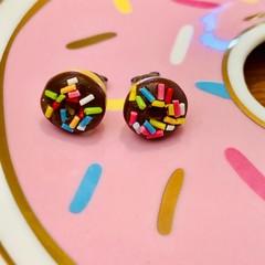 Donut studs - Chocolate donut stud earrings - long sprinkles - Chocolate donut