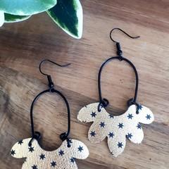 """Ashe"", Genuine Leather Earrings, Gold/ Black Star"