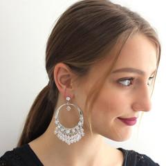 Statement Gypsy Crystal Hoop Earrings Bride Wedding Swarovski Large Prom Formal