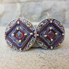 Handwoven Recycled Coffee Pod Earrings Boho Inca Mandala Earrings Ecofri