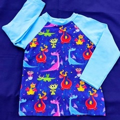 Cute Dragon Long Sleeve T-Shirt - Sizes 2, 3