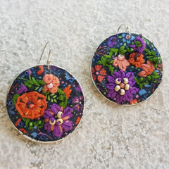 Handwoven Recycled Coffee Pod Earrings Boho Embroidered Coral Reef Ear
