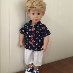 Dolls Clothes cargo Shorts and Nautical print Shirt for45cm/18inch doll