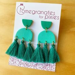Serra Statement Earrings in Green Monochrome with Cotton Tassels | Polymer Clay