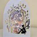 Greeting Card Handmade - Fairy Garden Arch Shaped Card for Fairy Lovers