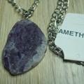 Long Amethyst Slab Necklace