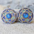 Handwoven Recycled Coffee Pod Earrings Boho Blue Pools Mandala Earrings