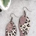 Stacked Leaf, Genuine Leather, Hypoallergenic Earrings, Bronze/Leopard