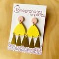 Nisa Statement Earrings in Yellow and Peach with Triangle Brass Drops