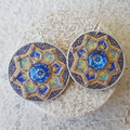 Handwoven Recycled Coffee Pod Earrings Boho Blue Pools Mandala Earrings