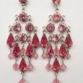 Mauve and dusty pink statement Swarovski Chandelier Earrings Pink Purple Rose Fo