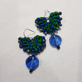 Recycled Sari Silk Earrings   Macrame Recycled Sari Yarn Boho Statement Earrings