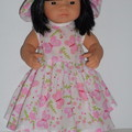 Dolls clothes for Miniland doll 38cm lovely dress and hat set.