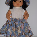 Dress and hat set for Miniland doll 38cm lovely dolls clothes.