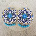 Boho Blue Oasis Ecofriendly Lightweight Upcycled Coffee Pod Earrings