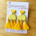 Serra Statement Earrings in Yelloc Monochrome with Cotton Tassels | Polymer Clay