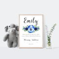 Personalised Name Meaning Print, Girls with Blue Water colour Flowers