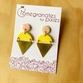Kamile Statement Earrings in Yellow and Peach Swirl with Brass Triangles
