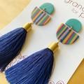 Sarila Statement Tassel Earrings in Winter Stripes