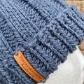 Handmade knitted blue grey beanie, storm grey blue beanie, mens blue beanie, lad