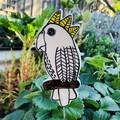 White cockatoo garden stake