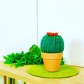 Mini Dark Green Crochet Cactus