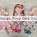 "Handmade rag doll, design your own doll, custom, 40cm (16""), dress up doll, clot"