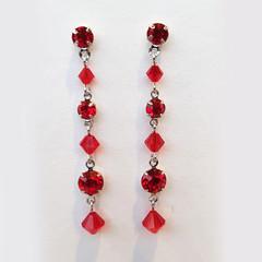 Light Red Swarovski Crystal Drop Earrings Bridesmaid Bride Wedding Prom Formal