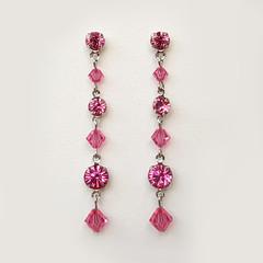 Rose Pink Swarovski Crystal Drop Earrings Bridesmaid Wedding Prom Formal Bridal