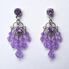Violet Chandelier Drop Earrings, Bridesmaid Earrings Special Occasion Earrings