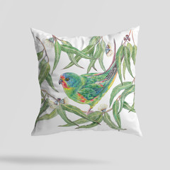 Cushion Cover with Swift Parrot Australian wildlife print on Linen 40cm square
