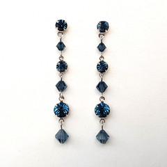 Dark Blue Swarovski Crystal Drop Earrings Bridesmaid Wedding Prom Formal Bridal
