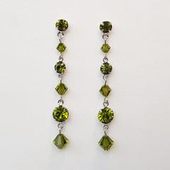 Olive Swarovski Crystal Drop Earrings Bridesmaid Wedding Prom Formal Dark Green
