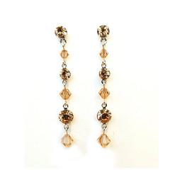 Cognac Swarovski Crystal Drop Earrings Bridesmaid Wedding Prom Formal