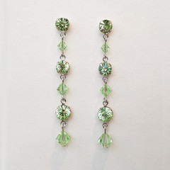 Pale Green Swarovski crystal Drop Earrings Bridesmaid Wedding Prom Mint Green