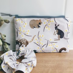 Small Pouch and Scrunchie Set- Australian Animals