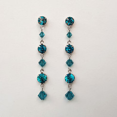 Teal Swarovski Crystal Drop Earrings Bridesmaid Wedding Prom Formal Bride