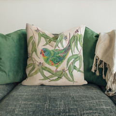 CUSHION with Swift Parrot Australian wildlife print on Linen 40cm with insert