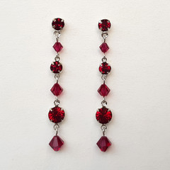 Ruby Swarovski Crystal Drop Earrings Bridesmaid Wedding Bride Prom Formal