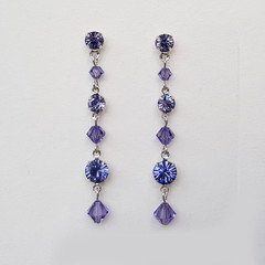 Mauve Swarovski crystal Drop Earrings Bridesmaid Wedding Formal Prom Earrings
